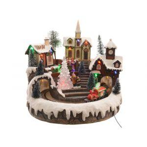 Décoris Village de Noël lumineux LED et animé sapin et train 24 x 23 x 23 cm