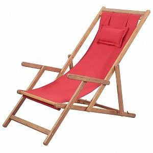 VidaXL Chaise de plage pliante Tissu Rouge