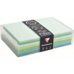 Clairefontaine 20882C - Coffret de 40 enveloppes 114x162 + 40 cartes 110x155 (5 couleurs de Vert)