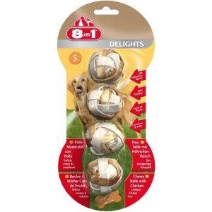 8in1 Delights Balles à mâcher au poulet - Sac 4 pièces, Tailles : S