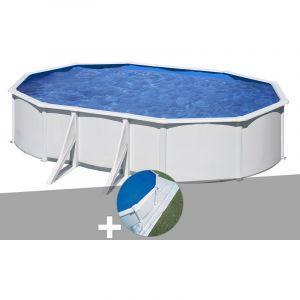 Gre Kit piscine acier blanc Wet ovale 6,34 x 3,99 x 1,22 m + Tapis de sol