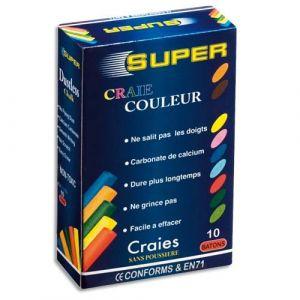 JPC CRÉATIONS Craies anti-poussière boîte de 10 couleurs assorties