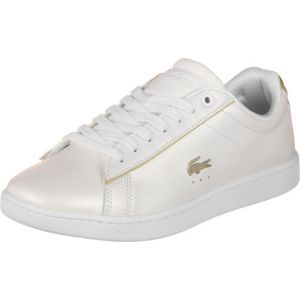Lacoste Carnaby Evo 118 6 SPW, Baskets Femmes, Blanc (WHT/Or GLD 216), 41 EU