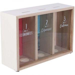 Home Deco Factory TI3090 Tirelire 3 Compartiments Mes économies Mes dépenses Mes Cadeaux Bois et Verre Beige Contour Blanc et Transparent H16,2 x 7,4 x 24 cm