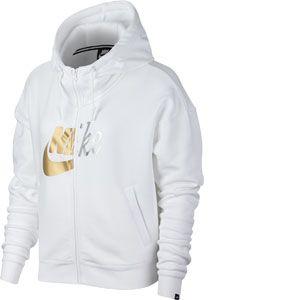 Nike Sweat à capuche métallisé entièrement zippé Sportswear Rally pour Femme - Blanc - Taille L