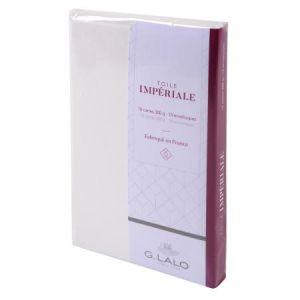 G. Lalo 26600L - 10 cartes Toile Impériale 85x135 300g/m² + 10 env. doublées visite gommées, coloris blanc