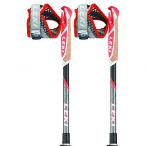 Leki Bâtons de randonnée Micro Trail Vario - Anthracite / White / Neon Red - Taille 100-120 cm