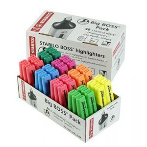 Stabilo Big Boss - Lot de 48 surligneurs 6 jaunes, 6 bleus, 6 verts, 6 rouges, 6 turquoises, 6 orange, 6 roses et 6 violets