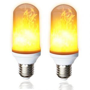 Lampesecoenergie Pack de 2 Ampoules LED flamme effet feu scintillement culot E27 ref 915