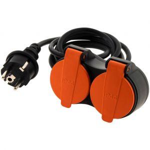 Zenitech Rallonge étanche 2 prises 2P+T H07RN-F 3x 1,5mm² 5m avec clip de fixation orange