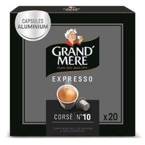 Grand'mère Capsules Expresso Corsé Intensité N°10-100 Capsules en Aluminium Compatibles avec les Machines Nespresso®* (Lot de 5x20 capsules)