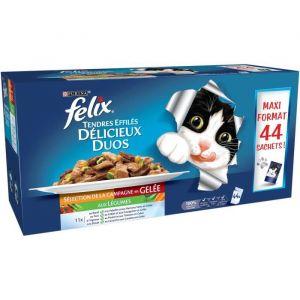 Felix Tendres Effilés en gelée Délicieux Duos - Sélection de la Campagne aux légumes - Pour chat adulte - 44 x 100 g