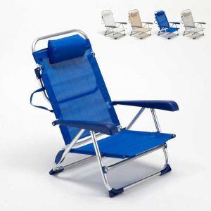Beach and Garden Design Chaise transat de plage pliante avec accoudoirs mer aluminium GARGANO | Bleu