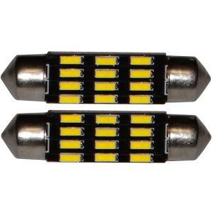 Aerzetix : 2x ampoule C5W 12V 12LED SMD blanc effet xénon 41mm éclairage intérieur plaque d'immatriculation seuils de porte plafonnier pieds lecteur de carte coffre compartiment moteur