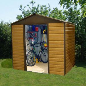 Yardmaster 1012WGL - Abri de jardin en métal aspect bois 10,20 m2