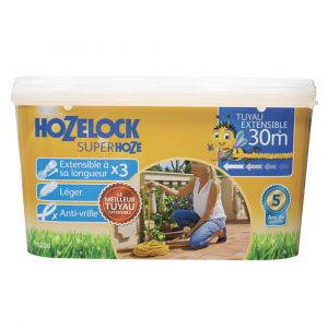 Hozelock Tuyau Extensible Superhoze 30m + 2 Raccords Aquastop + 1 Lance d'Arrosage