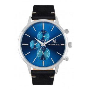 Montignac Montre MOPE19A20 - Chronographe Bracelet Cuir Noir Boitier Acier Argenté Cadran Bleu Homme