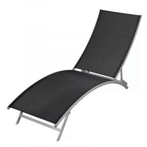 VidaXL Chaise Longue de Jardin Plage Bain de Soleil Transat Textilène Noir