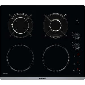 Brandt BPI 6413 BM - Table de cuisson mixte gaz et induction 4 foyers
