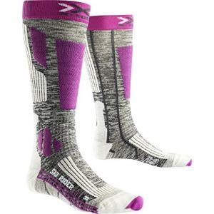 X-Socks Rider 2.0 Lady Chaussettes de Ski Femme, Grey Melange/Violet, FR : XL (Taille Fabricant : 41-42)