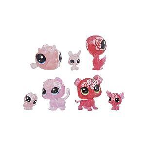 Hasbro Littlest PetShop - Jardin Enchanté - Tube 7 PetShop Minis & Teensies - Rose