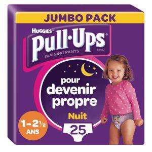 Huggies Culottes D'apprentissage Nuit Fille De 1 À 2,5 Ans : 8-17kg Pull-ups - Le Paquet De 25