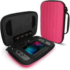 igadgitz U6541 - EVA Étui Housse Pochette Rigide Compatible avec Nintendo Switch - Rose