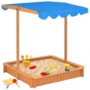 VidaXL Bac à sable avec toit ouvrant Bois Bleu UV50