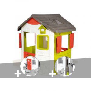Smoby Cabane enfant Neo Jura Lodge + Porte maison + Récupérateur d'eau