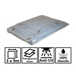 Toile de toit pour tonnelle et pergola 400g/m² transparente 3x9 m en PVC
