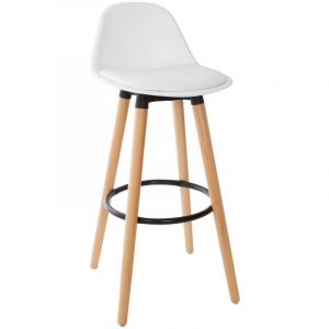 Atmosphera Tabouret de bar confortable blanc maxon H 92 cm