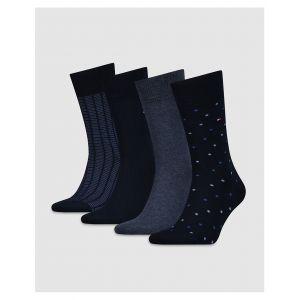 4db740a718611 Tommy Hilfiger Boite cadeau métal, lot de 4 paires de chaussettes Bleu  Marine - Taille