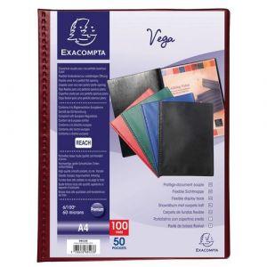 Exacompta Lot de 5 protège-documents PVC - 100 vues - vega opaque - A4 - Bordeaux - 88525E