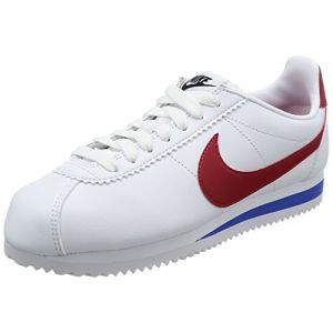 Nike Classic Cortez Leather, Baskets Femme, Blanc (White/Bleu Varsity Red-Varsity Royal), 37.5 EU