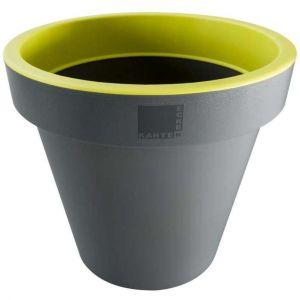 Provence Outillage Pot de fleurs rond Jaune / Gris Diamètre : 25 cm Hauteur : 22 cm - ECKEN KANTEN