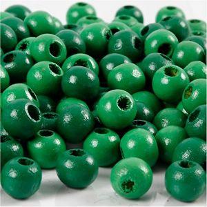 Perles en bois, d: 8 mm, vert, 15gr, env 100 pièce