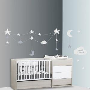 Sauthon Stickers nuages et étoiles Céleste (60 x 80 cm) Baby Déco