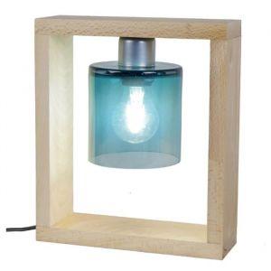 cd91854709 TRI PH Lampe à poser Bois tre m if verre soufflé 25x8x29cm Bleu Pétrole