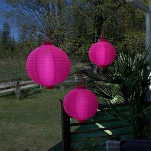 3 Lampions lumineux rose sur piles - STAR