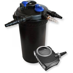 wiltec Kit de Filtration de Bassin à Pression 30000l Stérilisateur UVC 18W 70W Pompe éco
