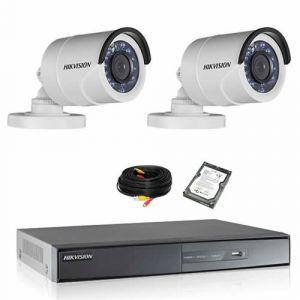 Securitegooddeal Kit de vidéosurveillance HIKVISION 2 tubes 1080P Turbo HD avec disque dur