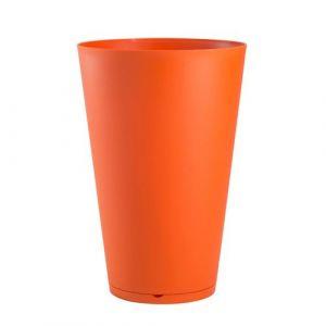 Grosfillex Pot de fleur rond en polypropylène diamètre 30 cm soucoupe intégrée TOKYO Orange