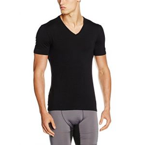 Icebreaker Mens Anatomica SS V T-Shirt Homme, Noir, FR : L (Taille Fabricant : L)