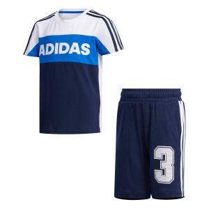 Adidas Survêtements Little Kid Summer Set - White / Collegiate Navy - Taille 104 cm