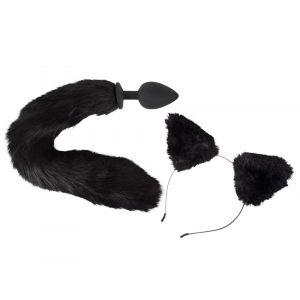 Bad Kitty Kit Plug Anal Queue Féline Noire & Serre Tête Chat