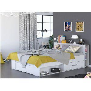 OXYGENE Lit adulte contemporain bois mat blanc perle + tête de lit l 160 x L 200 cm