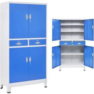 VidaXL Armoire de bureau avec 4 portes Métal 90x40x180 cm Gris et bleu