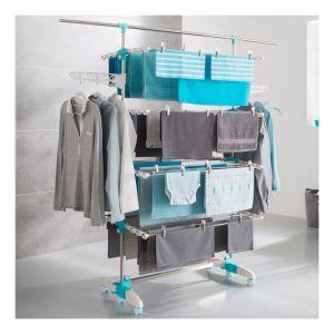 Idmarket Séchoir à linge 4 niveaux réglables + barre télescopique pour draps