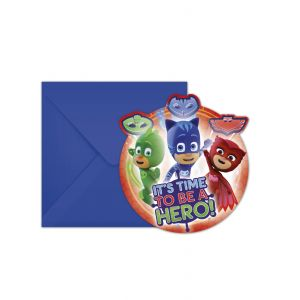 6 Cartons d'invitations et enveloppes Pyjamasques 14 x 9 cm