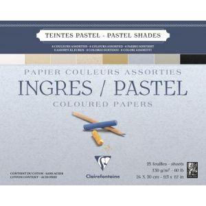 Clairefontaine 96487C - Bloc encollé de 25 feuilles de papier vergé Ingres Pastel, 130 g/m², 24x30, coloris assortis pastel
